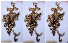 3x Gancho de la pared perchas armario Vestido Latón Antiguo ORO 11x17