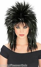 Superstar Black Wig Silver Tinsel Punk Rocker Super Rock Star 80s Long Hair Jett
