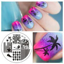 Nail Art Stamping Plate Summer Holidays Mermaid Ocean Sea Palm Tree Shell (BP23)