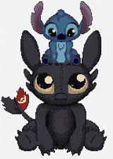 Toothless & Stitch Counted Cross Stitch Kit, Disney Characters