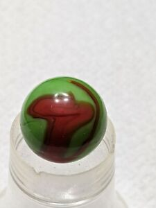 """Beautiful Vintage Red and Green Christensen Agate Swirl Marble .63"""""""