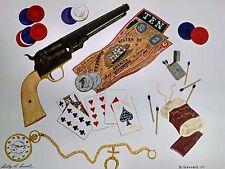 Civil War Print Poker by Sewell Confederate Money  Gun Old Match Tin
