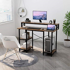Computer Desk with Shelves - Writing Study Desk with Monitor Stand Stand,Modern