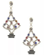 Colored Rhinestone Dangle Earrings Christmas Holiday White Christmas Tree