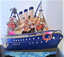 "HUGE 3D VALENTINE CARD Stand-up Display 11""x 9"" OCEAN LINER BOAT Mint! Shackman"