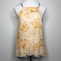 HD IN PARIS Anthropologie Joselyn Floral Peplum Tank Top Cami Yellow size Small