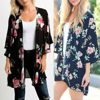 Women Chiffon Shawl Floral Print Kimono Cardigan Cover Up Blouse Beachwear Tops