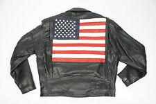 Men's Vintage USA Flag Black Leather Jacket Size UK Large