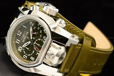 """Invicta 52mm Bolt Zeus MAGNUM """"Green Beret"""" Chrono Dual Time Leather Strap Watch"""