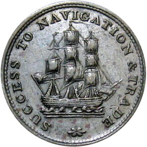 1815 Nova Scotia Canada Halfpenny Token Sailing Ship Breton 888