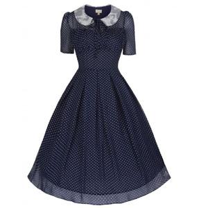 Lindy Bop Navy Blue Polka Dot Chiffon Vintage 1940s Retro Tea Day Dress Size 12