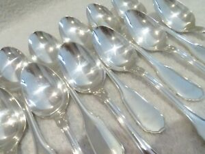 French 950 silver Minerve 12 dessert spoons Christofle Versailles pattern