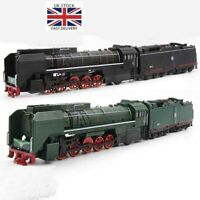 Alloy Locomotive Steam Train Toys Diesel Pull Back Sound Light Model Cars Gifts
