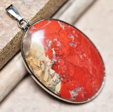 "Bloodstone Jasper Sea Sediment Quartz Natural Gemstone 1.75"" Silver Pendant #25"