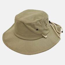 Khaki Aussie Boonie Safari Bucket Sun Fishing Outback Drawstring Hat Hats S/M