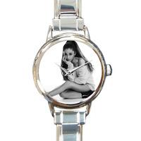 Arianna Grande Pop Singer Fan Photo Watch Silver Italian Charm Watch Bracelet