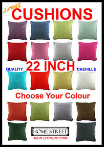 """Large Plain Chenille Piped Edge 22"""" Feather Filled Quality Cushion Many Colours"""