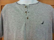 Nautica Sleepwear Shirt~3 Button Front~Heather Grey with Navy Trim~Size S~NWT