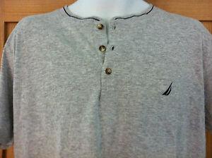 Nautica Sleepwear Shirt~3 Button Front~Heather Grey with Navy Trim~Size M~NWT