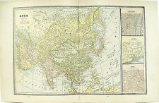 c 1890 Map of Asia by George F Cram ~ Full Color Lithograph Engraving + Russia