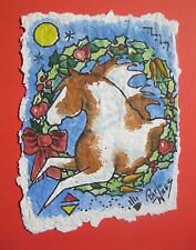 Rock Art Christmas Paint Ponies Original Watercolor Pat Wiles Horse Horses