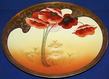 """STUNNING SIGNED T&V LIMOGES FRANCE OSBORNE POPPIES, DAISIES & GOLD 12 3/8"""" PLATE"""