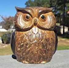 """5.5"""" Vintage Ceramic OWL Coin Piggy BANK Face on Front and Back Vtg Raptor Birds"""