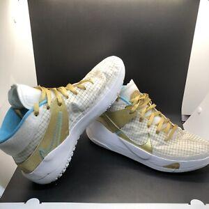 New Nike Zoom KD 13 EYBL DA0895-102 KD13 White Gold Aqua Basketball Shoes - 10 M