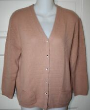 """ALLUDE 100% CASHMERE Cardigan SWEATER Peach Soft Women's XL L Bust 40"""""""