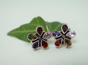 Pair of 925 silver and multi-gemstone flower shaped earrings