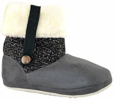 Ladies Womens Coolers Fur Lined Ankle BOOTS Slip on Bootee Slippers Shoes Size Grey L (uk 6/7)