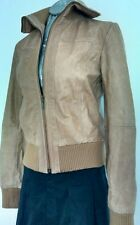 £300 HELIUM bomber jacket size M 100% Genuine Leather beige --VGC--