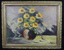 Georges BUISSON (XIX-XX) Bouquet de fleurs huile sur toile art deco nature morte