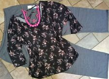 woman's plus size outfit clothing lot 3x NWT pants, 4x NWT blouse, necklace