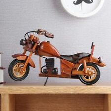 Antique Wooden Model  MotorCycle Handmade Detail Realism Miniature Wood Toy  v_e