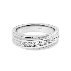 7 Round Brilliant Cut Diamonds Men's Wedding Designer Ring in 950 Platinum