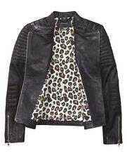 MAISON SCOTCH & Soda Black Soft Leather Biker Moto Asymmetrical Zip Jacket P/XS