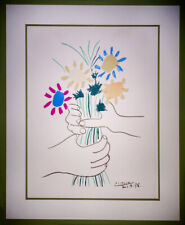 """Vintage Pablo Picasso Lithograph Hands with Flowers """"Bouquet of Peace"""" COA"""