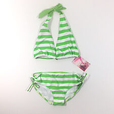 NWT Kanu Surf Girls' 2 Piece Striped Green Swimsuit Size 14