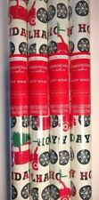 Christmas Wrapping Paper Lot 4 Rolls Red Car Truck w/ Tree on Top Gift Wrap New