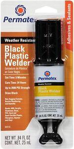 Permatex 84145 black plastic welder epoxy bonds ABS glass PVC wood fast 25ml