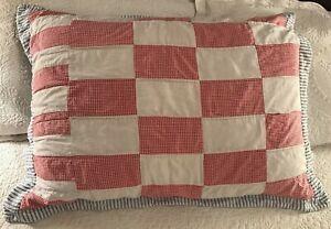 Vintage Ralph Lauren Cotton Patchwork Blue Oxford Stripe European Pillow Sham