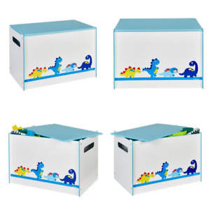 Dinosaurs Kids Toy Box - Childrens Bedroom Storage Chest with Bench Lid by Hello