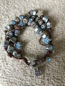 Otazu Leather And Swarovski Bracelet