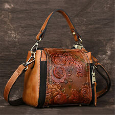 Women Retro Genuine Leather Handbag Embossed Craft Flower Shoulder Bag Purse