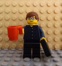 LEGO Brand New Mini Figure Man Laptop Mug Office Worker City Life Train Commuter
