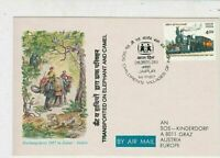 India 1987 Childrens Day Jaipur Slogan Cancel Airmail Stamps Card Ref 23336