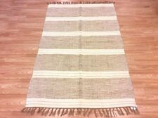 CREAM BEIGE Handmade Natural Cotton Jute Reversible Washable RUG 120x180cm 40%OF