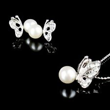 New Rhinestone Butterfly Imitated Pearl Earrings And Necklace Jewelry Set