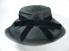 "Vtg Ladies F.R. Jeleff Black Woven Mesh Brim With Velvet Bow 20"" Cir"